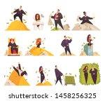rich people flat cartoon comic... | Shutterstock .eps vector #1458256325