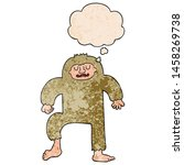 Stock photo cartoon bigfoot with thought bubble in grunge texture style 1458269738