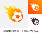 soccer ball in fire flame.... | Shutterstock .eps vector #1458299462