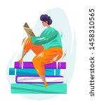 concept with man sitting on... | Shutterstock .eps vector #1458310565