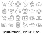 shopping wallet line icons.... | Shutterstock .eps vector #1458311255