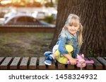 adorable blond caucasian... | Shutterstock . vector #1458324932