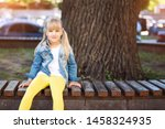 adorable blond caucasian... | Shutterstock . vector #1458324935