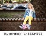 adorable blond caucasian... | Shutterstock . vector #1458324938