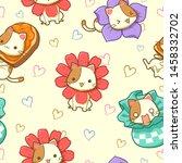 seamless pattern of cat cute... | Shutterstock .eps vector #1458332702