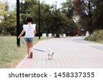 child girl 4 5 year old walking ... | Shutterstock . vector #1458337355