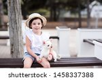 cute child girl 3 4 year old... | Shutterstock . vector #1458337388