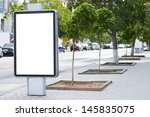 vertical blank billboard on the ... | Shutterstock . vector #145835075