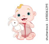 happy child with a soft toy on... | Shutterstock .eps vector #1458361295