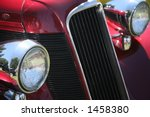 Red Vintage Car With Chrome...