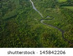 Aerial View Of A Winding River...
