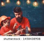 home education concept. boy ... | Shutterstock . vector #1458438908
