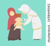 vaccine mother child vector... | Shutterstock .eps vector #1458449042
