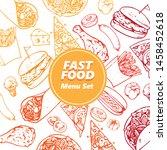 fast food menu set drawing   Shutterstock .eps vector #1458452618