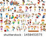 boys  girls  children in... | Shutterstock .eps vector #1458453575