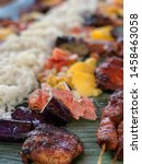 Small photo of Boodle fight during lunch at Fairholme camp ground