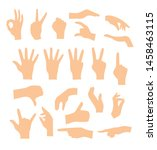 set of hands showing different... | Shutterstock .eps vector #1458463115
