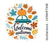 vector autumn greeting card... | Shutterstock .eps vector #1458497348