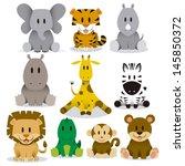 Stock vector a set of cute vector wild animals 145850372