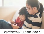 asian children drawing picture... | Shutterstock . vector #1458509555