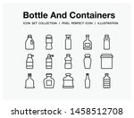 bottle and containers icons set....