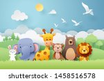 paper craft of zoo animals and... | Shutterstock .eps vector #1458516578