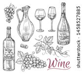 sketch wine vector elements  ... | Shutterstock .eps vector #1458527885
