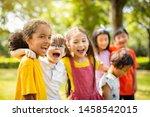 multi ethnic group of school... | Shutterstock . vector #1458542015