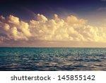 seascape. big fluffy clouds... | Shutterstock . vector #145855142