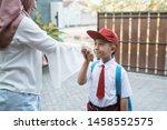 portrait of child shake hand... | Shutterstock . vector #1458552575