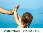 beautiful hands of parent and... | Shutterstock . vector #1458553118
