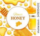 honey background. realistic... | Shutterstock .eps vector #1458554192