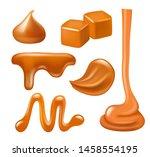 caramel drops. liquid candies... | Shutterstock .eps vector #1458554195