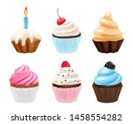 cupcakes desserts. sweets... | Shutterstock .eps vector #1458554282