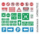 Set Street Sign  Evacuate Sign  ...