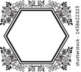 drawing flower frame and... | Shutterstock .eps vector #1458622325