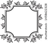 drawing flower frame and... | Shutterstock .eps vector #1458622328