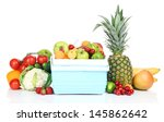 fresh fruits and vegetables in... | Shutterstock . vector #145862642