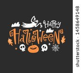 happy halloween emblem.... | Shutterstock .eps vector #1458649148