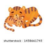 Tigress With Tiger Cub. Vector...