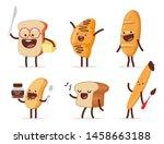 Cute Bread Characters Vector...