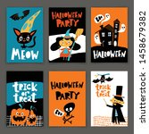 set of vintage style halloween... | Shutterstock .eps vector #1458679382