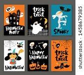 set of retro style halloween...   Shutterstock .eps vector #1458679385