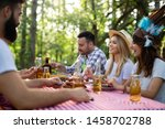 group of friends having... | Shutterstock . vector #1458702788