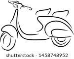 outline vintage scooter... | Shutterstock .eps vector #1458748952