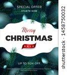 merry christmas sale poster ... | Shutterstock .eps vector #1458750032