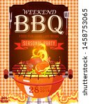 bbq party invitation template... | Shutterstock .eps vector #1458753065