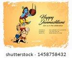 illustration of lord krishna... | Shutterstock .eps vector #1458758432