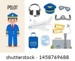 Vector character pilot. Illustrations of diver equipment. Set of cartoon professions.