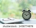 vintage clock and newspaper... | Shutterstock . vector #1458774878
